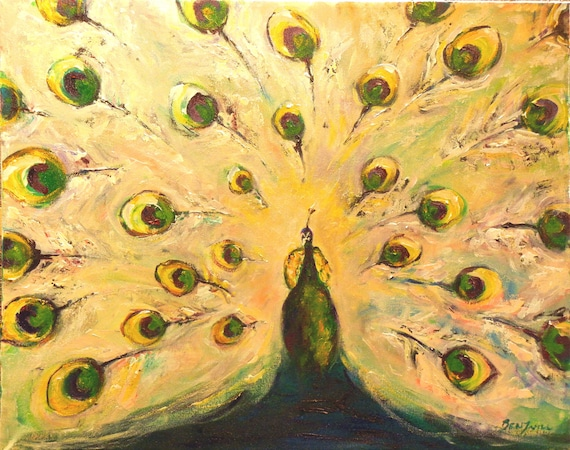 PEACOCK Painting ORIGINAL Large Fine Art 30x24 by BenWill