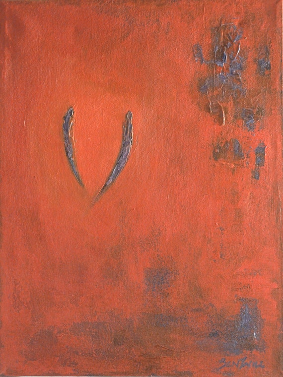 SOULMATES Painting LARGE ORIGINAL Abstract Modern Orange Red Purple Romantic Art on Canvas 24x18 by BenWill