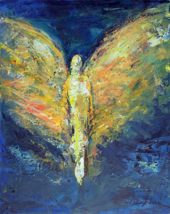 Angel Art Oil Original Abstract Painting Enduring Strength ANGEL Vision of Angels Series 20x16 BenWill