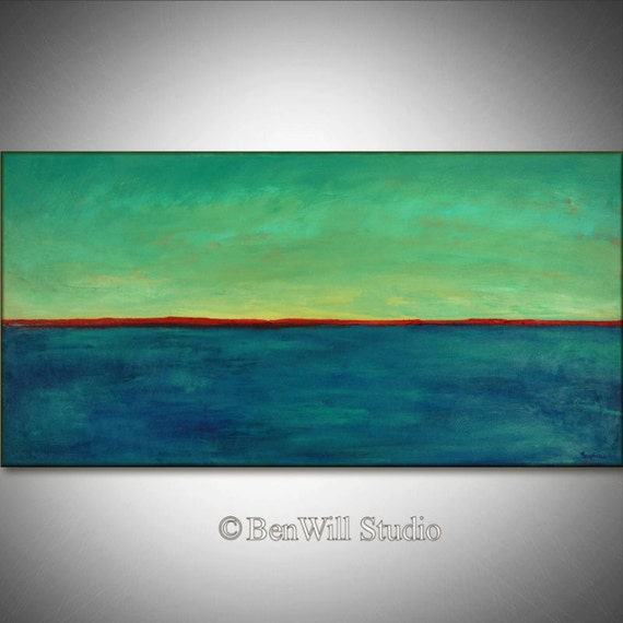 TURQUOISE Red Horizon Art Abstract Expressionist Contemporary Art ORIGINAL Painting - Made to Order by BenWill