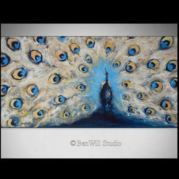 PEACOCK Painting - ORIGINAL Blue and White Peacock Art Oil Painting - 48x24 Original Artwork by BenWill