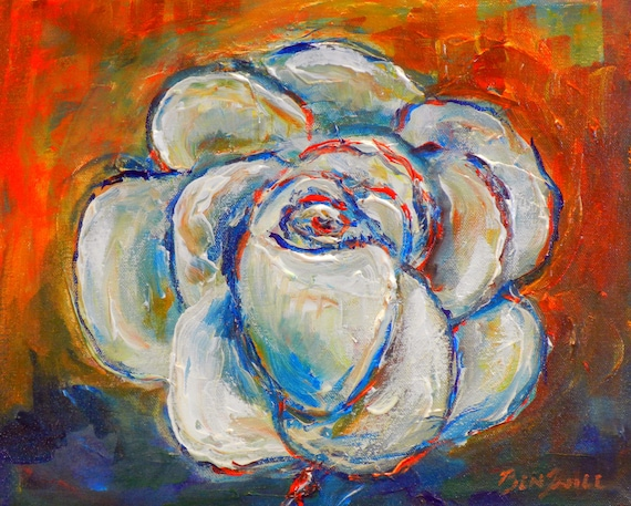 White Rose Original Painting Artwork 11x14 artwork by BenWill