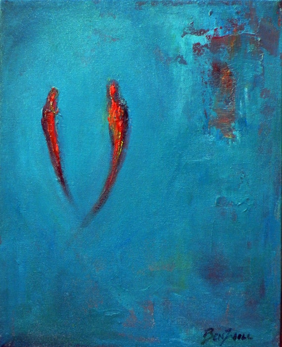 SOULMATES Love Painting ORIGINAL Abstract Art TURQUOISE Red -Valentines  - 14x11 by BenWill