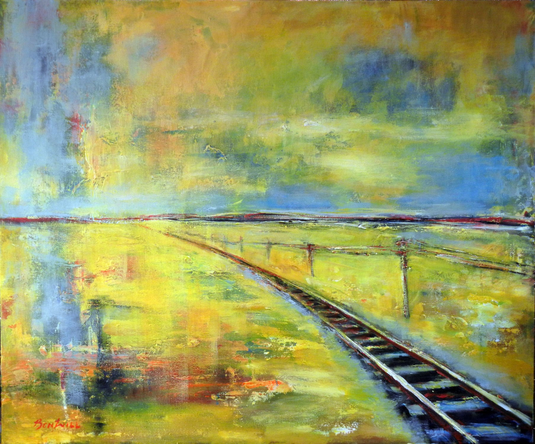 ORIGINAL Large Painting on Canvas Abstract Wall Art Train TRACK ...