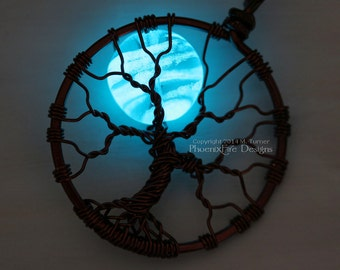 Blue Glow in the Dark Full Moon Tree of Life Pendant Glowing Jewelry Teal Blue Moon Glow Necklace Brown Wire Wrapped Handmade Black Light UV