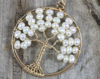 14K Gold Freshwater Pearl Tree of Life Pendant Wire Wrapped Wedding Jewelry Ivory Pearls Bridal Necklace Elegant Woodland Weddings