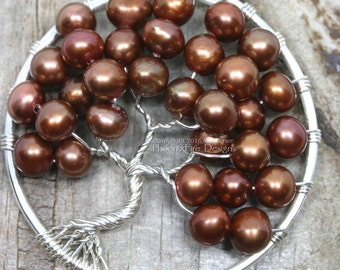 Copper Freshwater Pearl Tree of Life Pendant June Birthstone Necklace Silver Wire Wrapped Jewelry Reddish Brown Potato Woodland Weddings RTS
