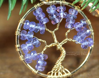 14k Tanzanite Necklace Tree of Life Pendant Wire Wrapped Jewelry Gold Fill Lilac Purple Blue Violet Natural Gemstone Birrhstone Jewelry RTS