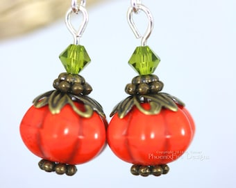 Pumpkin Earrings, Pumpkin Jewelry, Orange Pumpkins, Festive Fall Autumn, Swarovski Crystal, Thanksgiving, Cute Dangling Earrings Samhain RTS