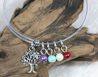 Custom Mom Bracelet Personalized Family Tree Birthstone Charm Bangle for Nana Mum Mother's Day Gift for Her Stack Bracelet Expandable Wire