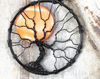 Halloween Full Moon Tree of Life Pendant Spooky Tree Wire Wrapped Jewelry Black Wire Orange Harvest Moon Necklace Gothic PhoenixFire Designs