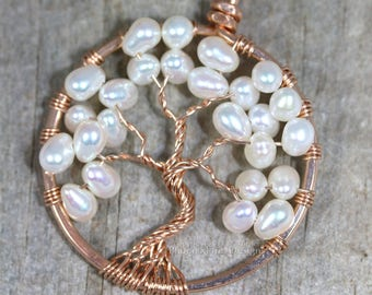14K Rose Gold Freshwater Pearl Necklace Tree of Life Pendant Wire Wrapped Wedding Jewelry Ivory Pearls Bridal Necklace Millennial Pink