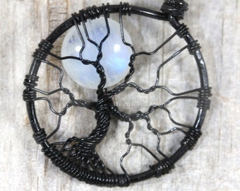 Rainbow Moonstone Jewelry Full Moon Tree of Life Necklace Black Wire Wrapped Pendant Gemstone Necklace Celestial Jewelry Lunar Necklace