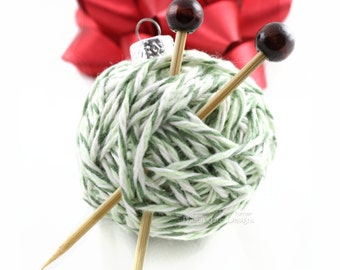 Yarn Ball Ornament, Christmas Tree, Gift Idea for Knitters, Handmade Decoration, Miniature Knitting Needles, Holiday Decor,  Knitting Gift