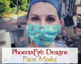 Phoenix Fire Designs Face Mask / Adult Face Mask / 100% Cotton / Custom Fabric / Downtown Dunedin Market / Pleated Face Mask / Kids Mask