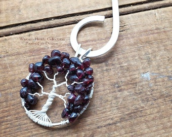 Winter's Heart Garnet Tree of Life Pendant Collar Necklace Stainless Steel Torque White Wire Wrapped January's Birthstone Jewelry For Her