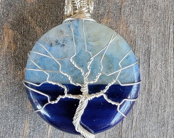 Blue Agate Wire Wrapped Tree of Life Pendant Necklace Sterling Silver Navy Blue Stone Gemstone Large Round Crystal Healing
