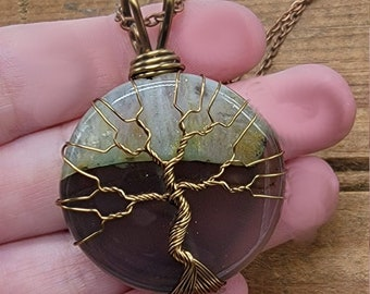 Banded Green Agate Wire Wrapped Tree of Life Pendant Necklace Antique Bronze Peridot Spring Green Stone Gemstone Large Round Crystal Healing