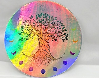 Tree of Life Holographic Sticker Moon Phases Holo Decal Waterproof Vinyl Tree Moon Celestial Full Moon Wheel of the Year Laptop Sticker
