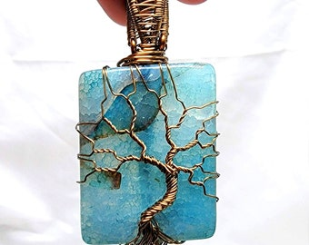 Blue Dragon Agate Wire Wrapped Tree of Life Pendant Necklace Antique Bronze Square Caribbean Sea Blue Stone Gemstone Crystal Healing