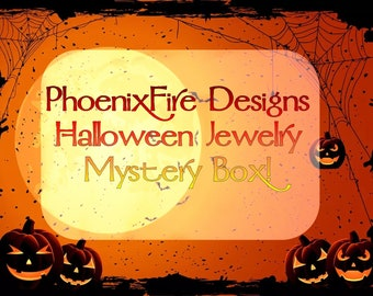 Halloween Jewelry Mystery Box - Halloween Earrings, Halloween Necklace, Halloween Accessories, Samhain, Mystic, Magical, Black Cat, Witches