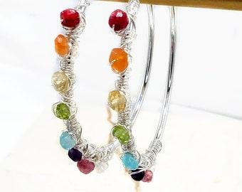 Wire Wrapped Rainbow Hoop Earring Multicolor Gemstone Earrings Sterling Silver Rainbow Jewelry Unicorn Rainbow Earrings LGBTQ+ Pride