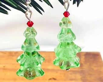 Mini Christmas Tree Earrings Miniature Xmas Trees Christmas Earrings Whimsical Holiday Jewelry Czech Glass Swarovski Crystal Sterling Silver