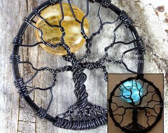 Glow in the Dark Necklace Full Moon Tree of Life Pendant Amber Moon Glowing Jewelry Glow Blue Moon Wire Wrapped Black Light UV Clubwear