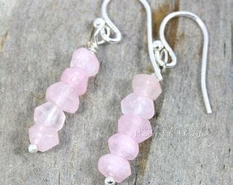 Rose Quartz Earrings Blush Earrings Dainty Pink Earrings Stacked Earrings Rose Quartz Jewelry Stone Jewelry Sterling Silver Millennial Pink