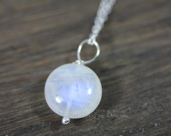 Rainbow Moonstone Pendant Necklace Glowing Moonstone Solitaire Sterling Silver Lunar Jewelry Full Moon Dainty Birthstone Bridesmaid Gift