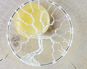 Sun Tree of Life Pendant Yellow Jade Wire Wrapped Necklace Handmade Summer Sunny Beachy Jewelry Solar Eclipse Jewelry by PhoenixFire Designs