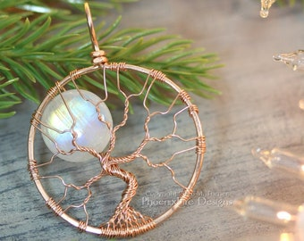 14k Rose Gold Necklace Rainbow Moonstone Tree of Life Pendant Full Moon Lunar Jewelry Pink Gold Moonstone Luxury Wire Wrap Rose Gold Jewelry