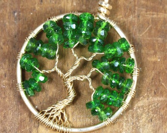 14k Chrome Diopside Pendant Tree of Life Pendant 14k Gold Emerald Green Necklace Emerald Jewelry May Birthstone Wire Wrapped Fine Jewelry