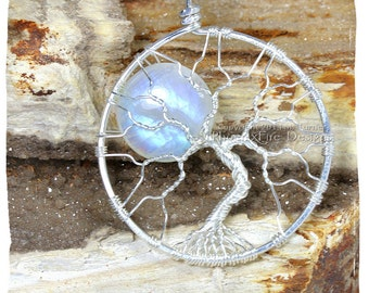 Eco friendly Rainbow Moonstone Tree-of-Life Pendant Full Moon Lunar Jewelry Argentium Sterling Silver Wire Jewelry Reclaimed Recycled