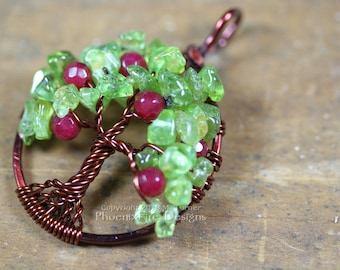 Teacher Appreciation Gift Apple Tree of Life Pendant Peridot Ruby Red Jade Gemstones Wire Wrapped Brown August Birthstone Teacher Gift