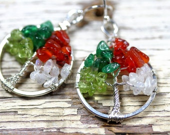 Tree of Life Earrings Four Seasons Wheel of the Year Silver Wire Wrapped Jewelry Mini Miniature Tree Multicolor Gemstone Moonstone