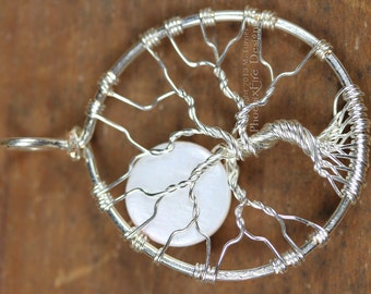 Full Moon Tree of Life Pendant Wire Wrapped Jewelry Pearlescent White Shell Moon Necklace Bare Branch Tree Celtic Elven Celestial Style