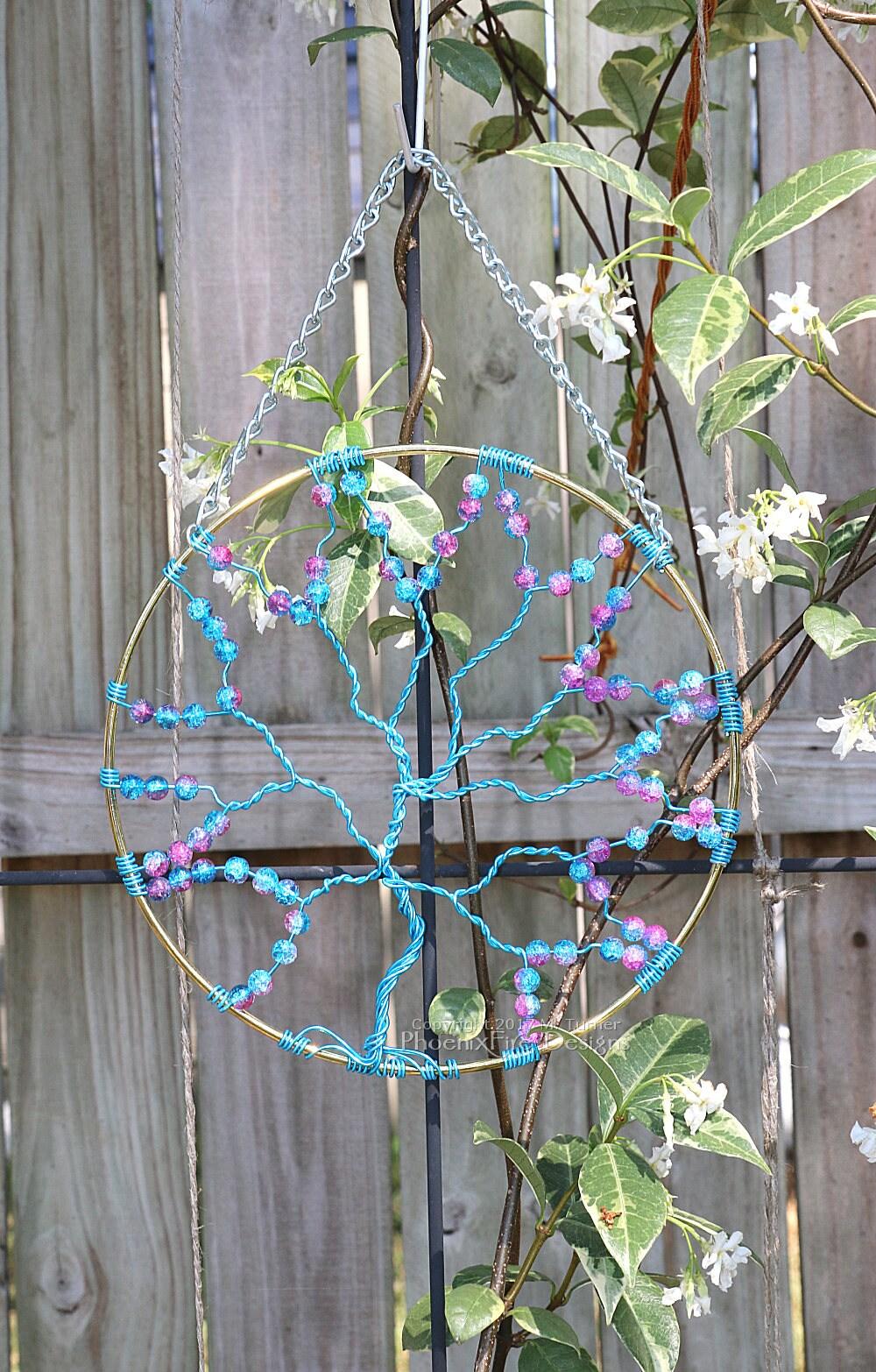 Suncatcher Tree of Life Sun Catcher Pink Blue Galaxy Beads | Etsy