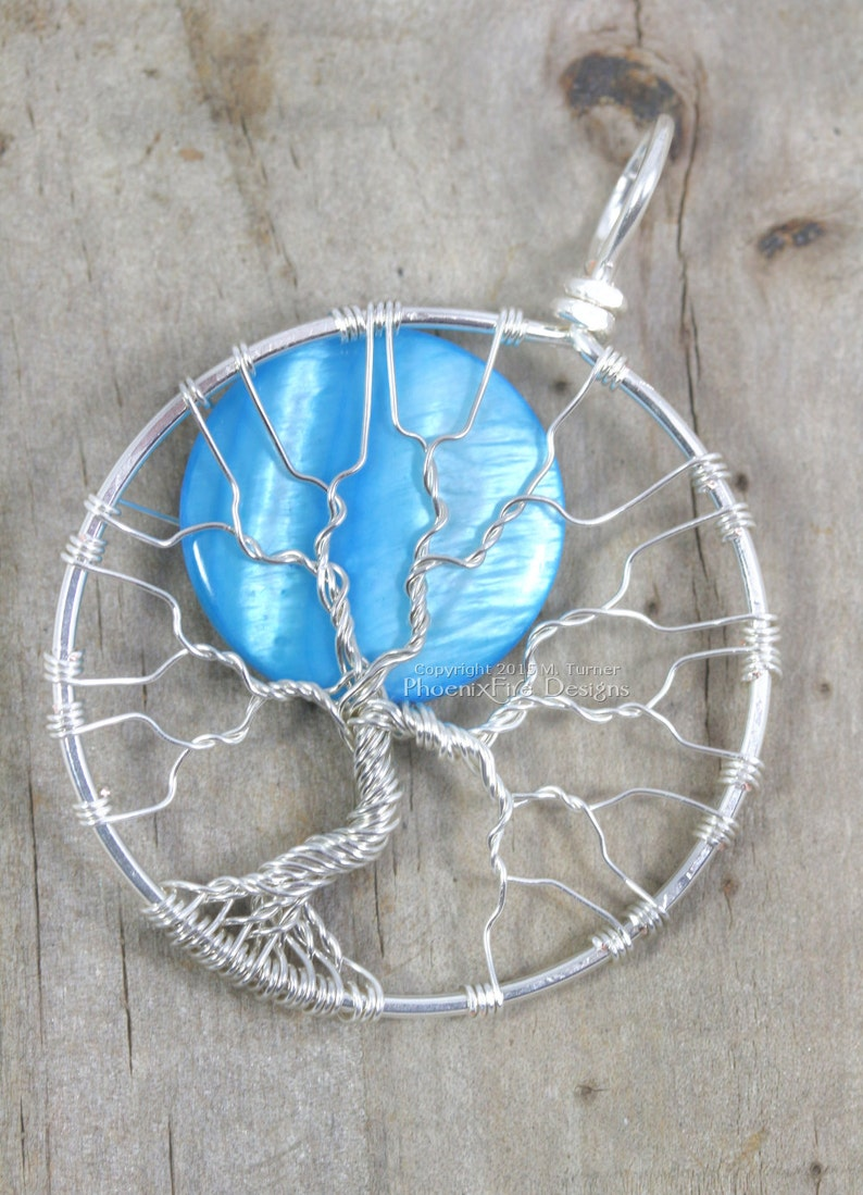 Once in Blue Moon Full Moon Tree of Life Pendant Silver Wire image 0
