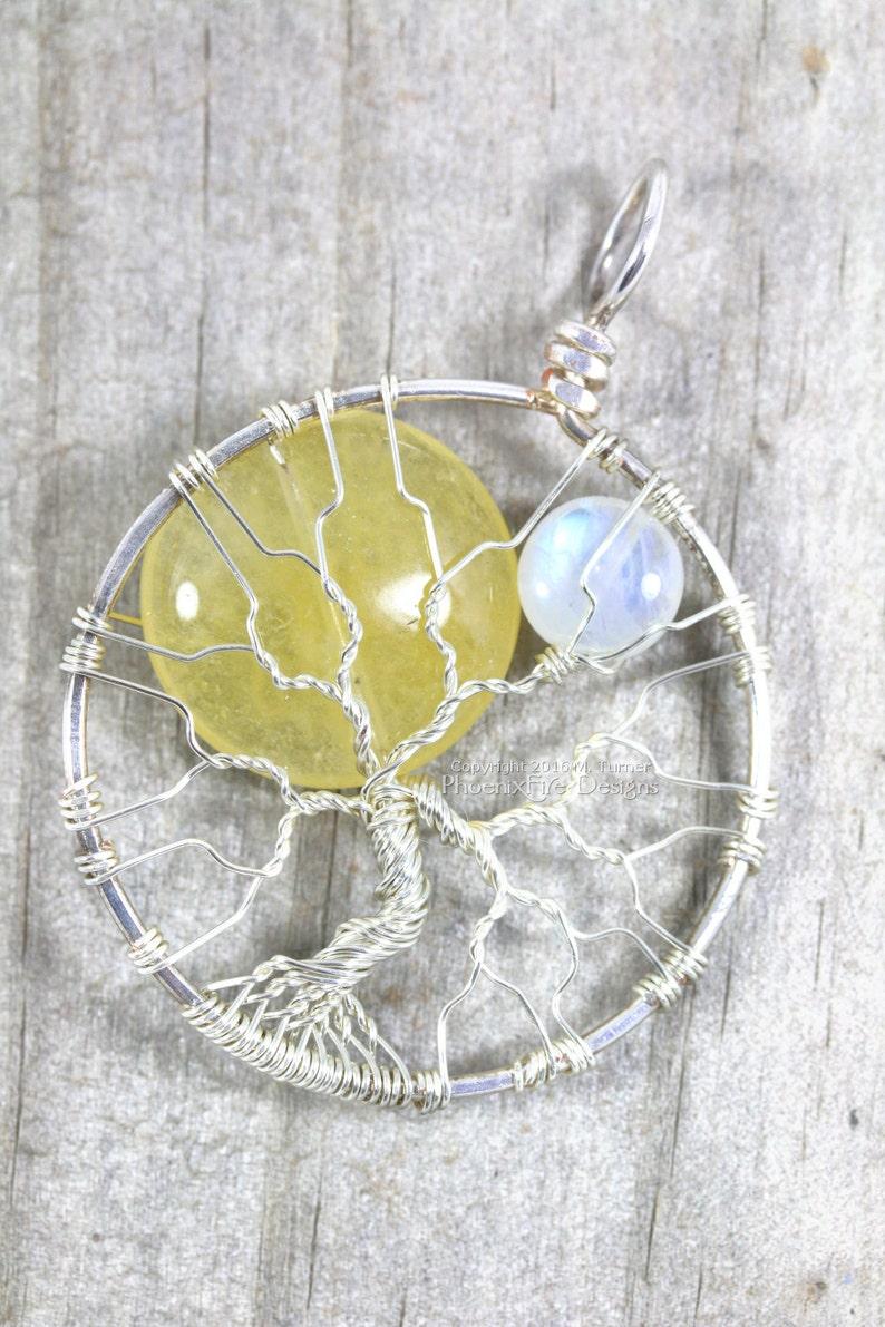 Sun and Moon Tree of Life Pendant Yellow Jade Sol Rainbow image 0