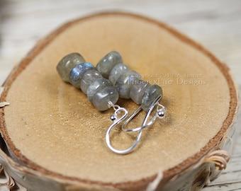 Stacked Labradorite Earrings 925 Sterling Silver Gemstone Dangle Style Blue Flash Blue Labradorite Fire Everyday Shepherds Hook Wire