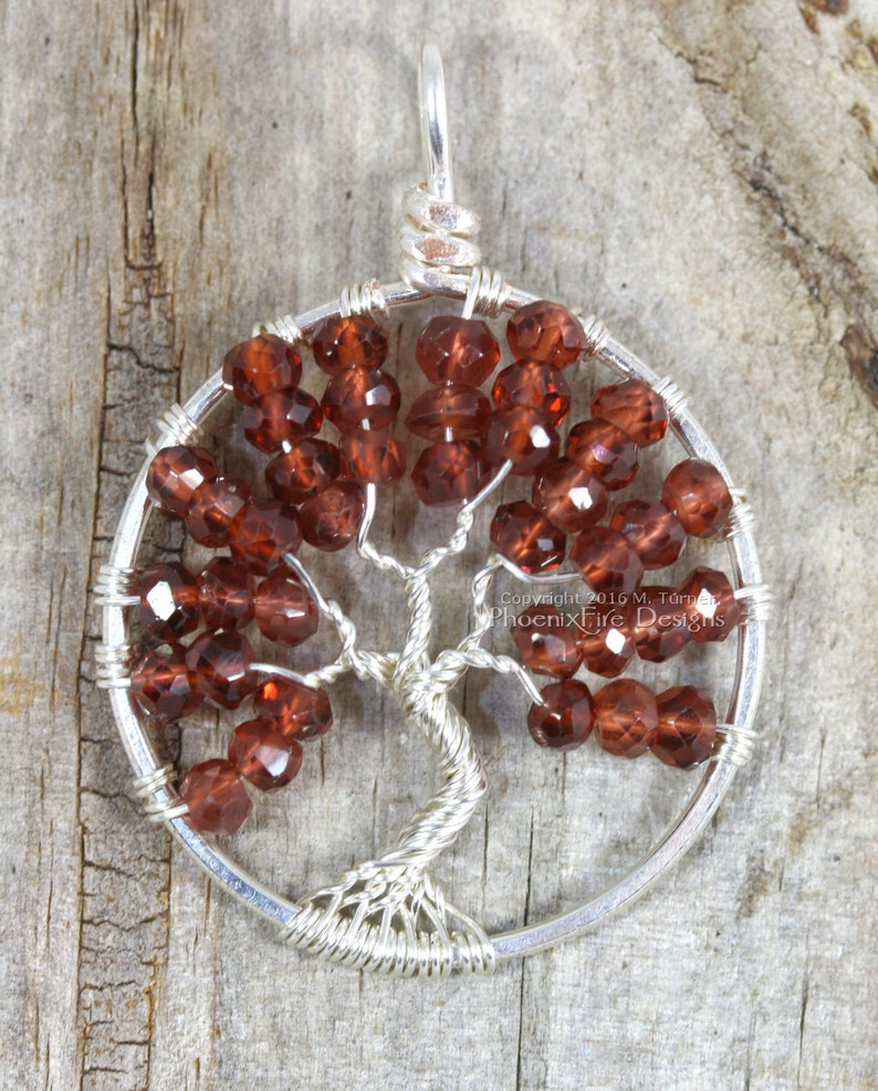 Garnet Tree of Life Pendant Silver Wire Wrapped Jewelry image 0