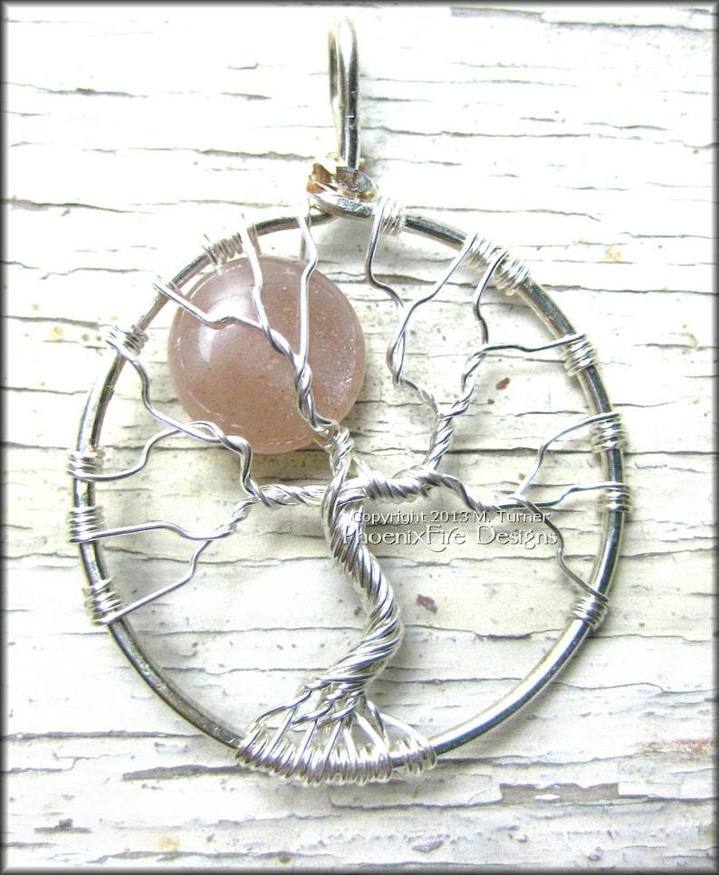 Sunstone Tree of Life Pendant Full Moon Celestial Tree of image 0