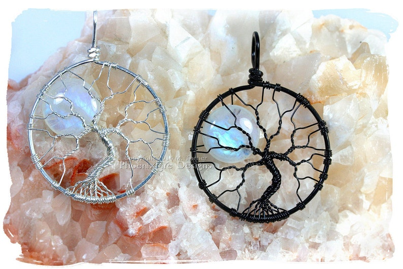 Rainbow Moonstone Celestial Jewelry Tree-of-Life Pendant Full image 0