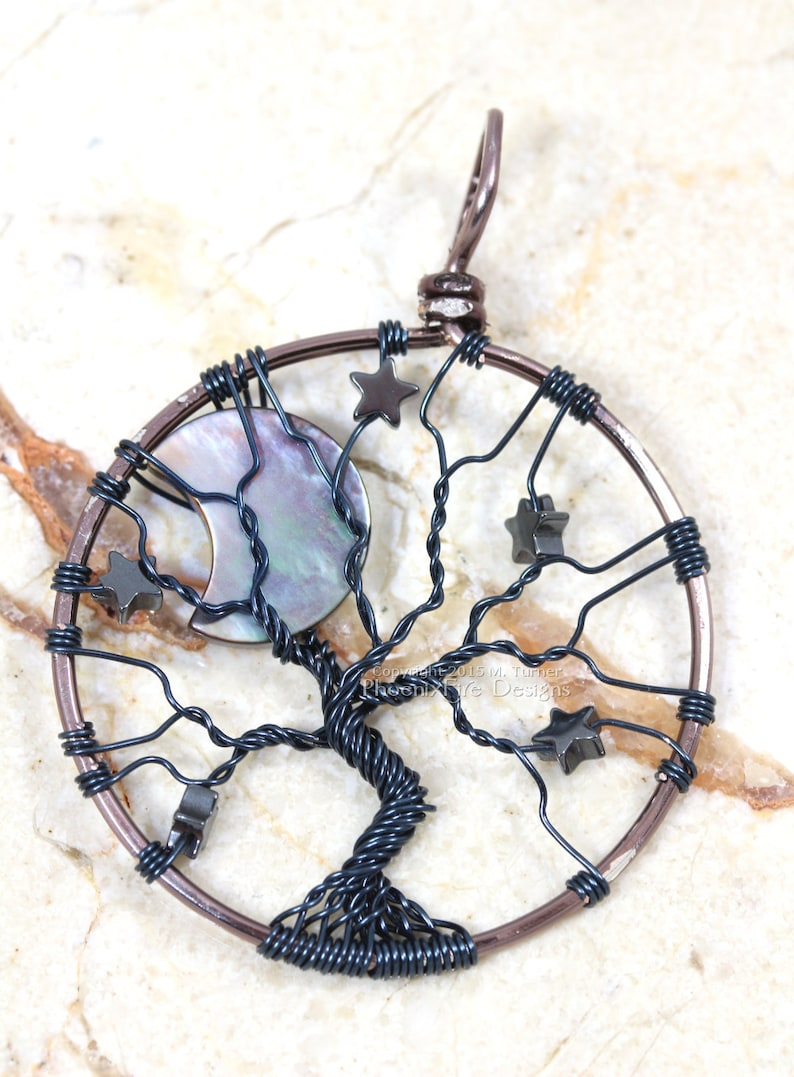Crescent Moon Stars Gunmetal Tree of Life Pendant Wire Wrapped image 0