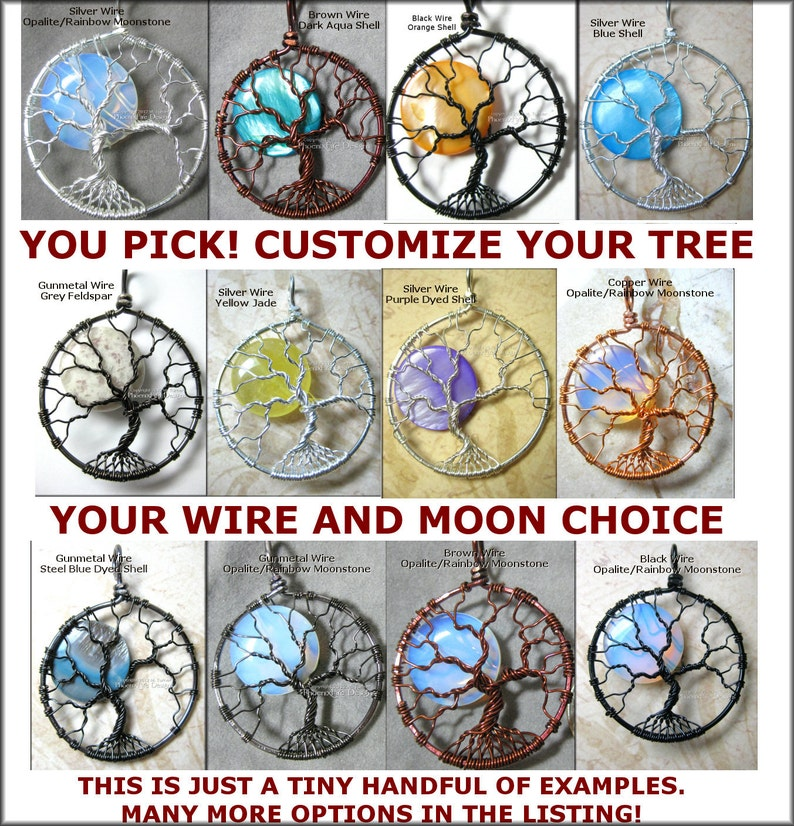 CUSTOM Tree of Life Pendant Full Moon YOUR CHOICE Made to image 0