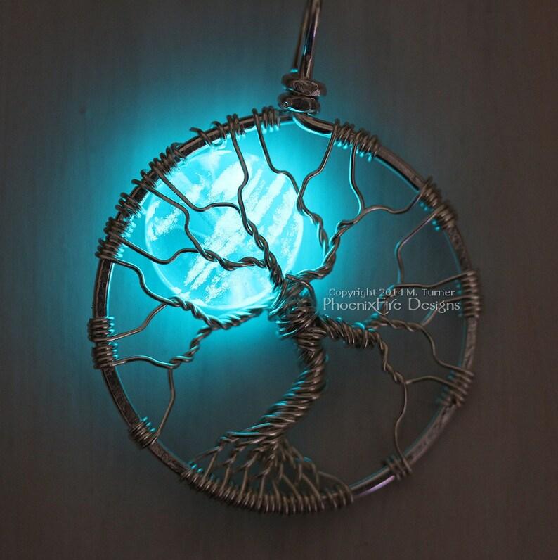 Glow in the Dark Jewelry Full Moon Tree of Life Pendant image 0