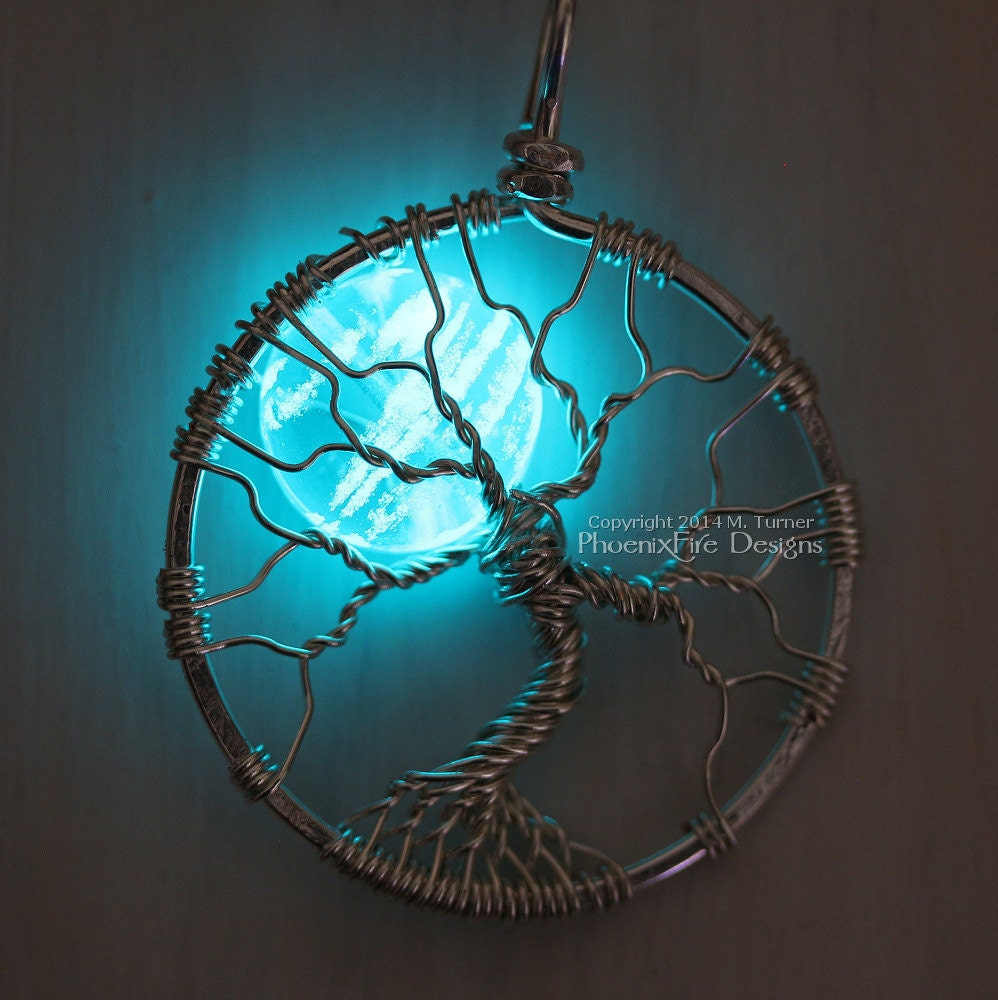 Glow In The Dark Jewelry Full Moon Tree Of Life Pendant Etsy