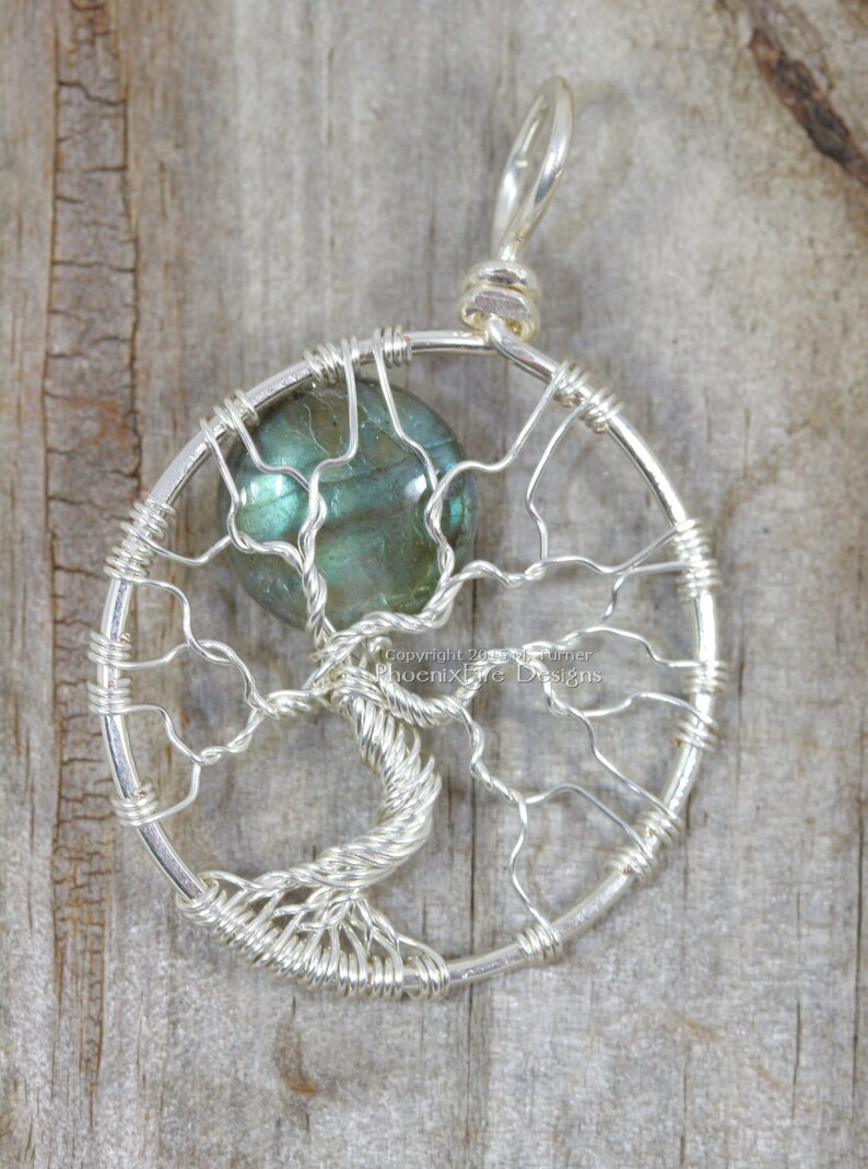 Labradorite Tree of Life Pendant Full Moon Blue Flash Wire image 0