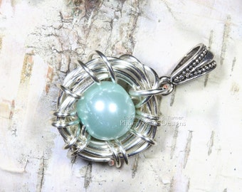 It's a Boy Blue Egg Bird Nest Mother's Jewelry Push Present New Mom Baby Shower Gift Gender Reveal Necklace Pregnancy Announcement Doula
